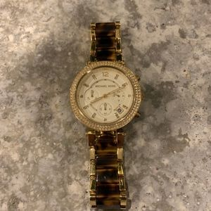 Gold and Tortoise Michael Kors Parker Watch